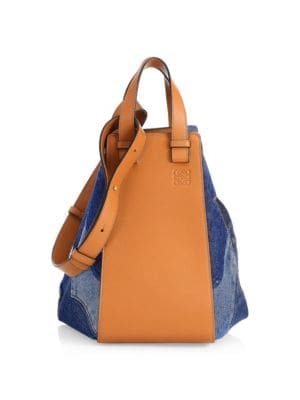 LOEWE Medium Hammock Leather and Denim Shoulder Bag