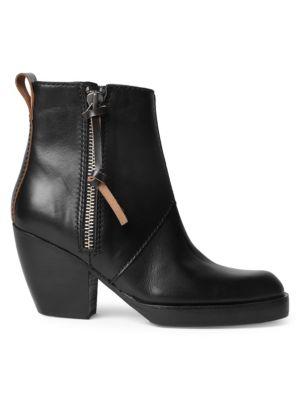 Leather Side Zip Booties