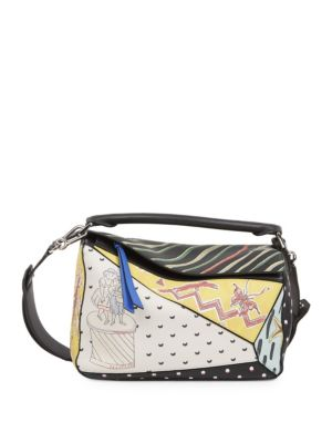 X Paula's Ibiza Puzzle Patchwork Leather Shoulder Bag