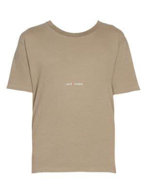 SAINT LAURENT Rive Cotton Logo Tee