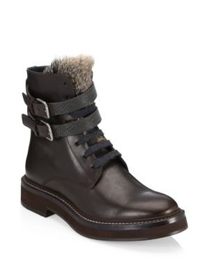 Fur Strap Leather Combat Boots