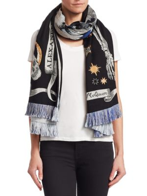 Skull Nighttime Oversized Embroidered Scarf