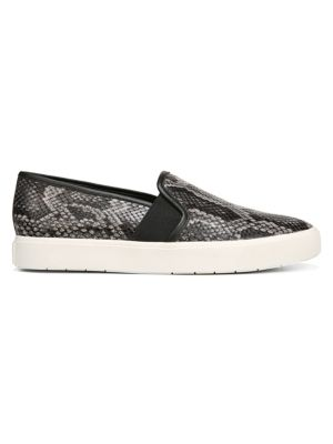 Blair Snakeskin-Embossed Leather Slip-On Sneakers