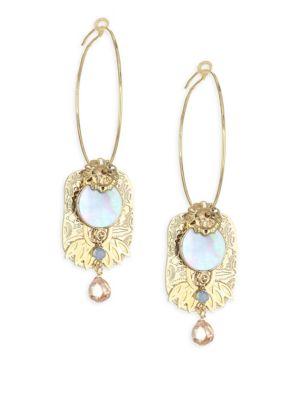 Mother-Of-Pearl & Crystal Brass Drop Earrings