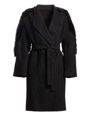 GENTRY PORTOFINO | Lamb Shearling Back Cashmere Wrap Coat | Goxip