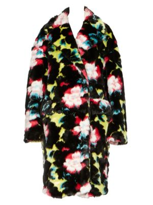 Floral-Print Faux Fur Coat