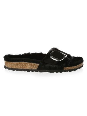 Madrid Shearling & Suede Big Buckle Sandals