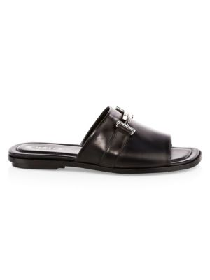 Double T Leather Slides