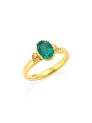 GURHAN Delicate Hue 22K & 24K Yellow Gold, Emerald & Diamond Ring