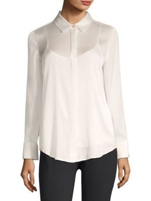Long Sleeve Button-Down Shirt with Camisole