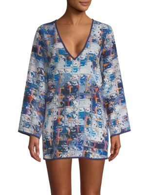 SHAN Graphic Print Silk Cover Up