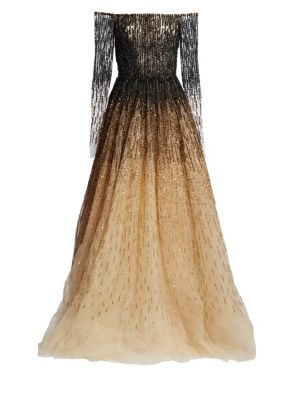 PAMELLA ROLAND OFF-THE-SHOULDER OMBRE SEQUIN & CRYSTAL-BEADED TULLE BALL GOWN
