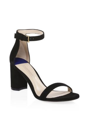 75LessNudist Suede Ankle-Strap Sandals