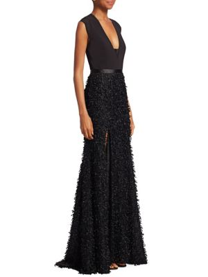 Feather Boucle Gown