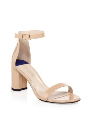 75 Less Nudist Patent Leather Ankle Strap Sandals by Stuart Weitzman
