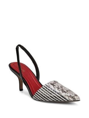Mortelle Black & White Snake Slingbacks