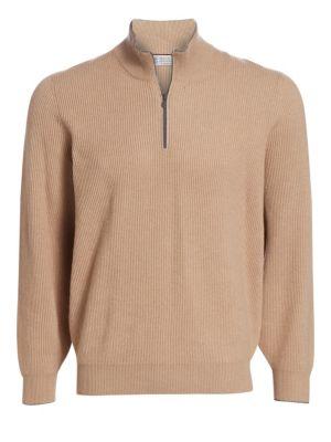 Half Zip Rib-Knit Wool, Silk & Cashmere Sweater