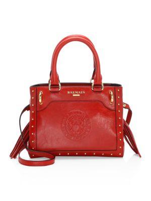 BALMAIN Studded Leather Top Handle Bag