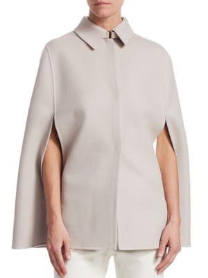 Short Royal Ascot Cashmere Slit-Sleeve Bicolor Cape