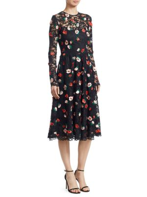 Long Sleeve Floral Lace Midi Dress