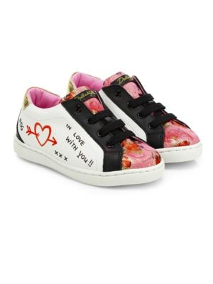 Toddler's & Kid's Graffiti Low-Lace Leather Sneakers