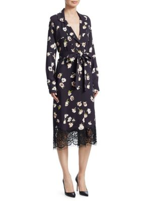 Floral-Print Double Breasted Wrap Dress