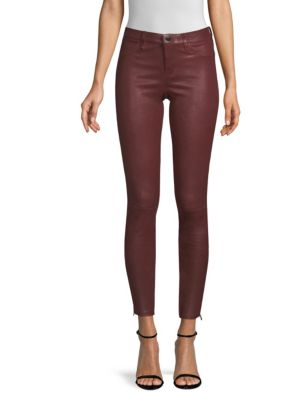 Mid-Rise Side-Zip Leather Skinny Pants