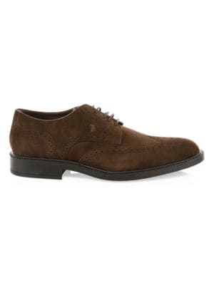 Lace-Up Suede Wing Tips
