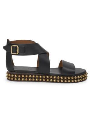 Sawyer Studded Leather Wrap Gladiator Sandals