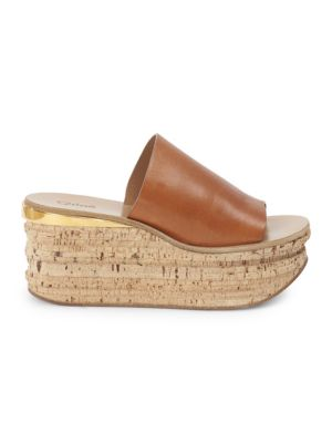 Cork Leather Platform Wedge Sandals