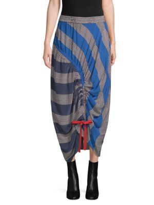 TOMMY HILFIGER COLLECTION Rugby Stripe Ruched Midi Skirt