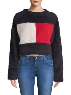 TOMMY HILFIGER COLLECTION Cropped Fleece Flag Sweater