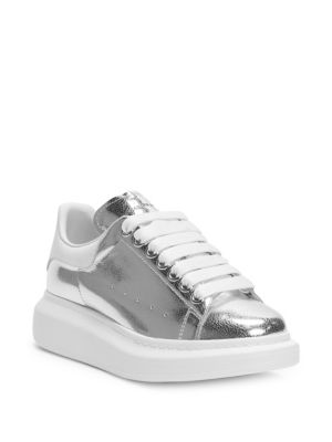 Cracked Metallic Leather Platform Sneakers