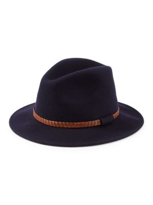 COLLECTION Braided Leather Band Wool Felt Fedora