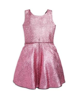 Girl's Flirty Fun Sara Metallic Foil Swing Dress