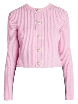 EMBELLISHED RIBBED CASHMERE CARDIGAN