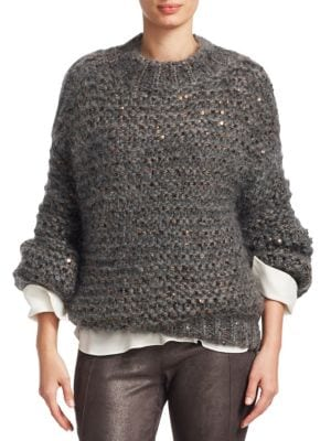 SEQUINED MOHAIR-BLEND SWEATER