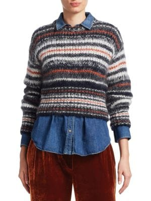 CREWNECK MOHAIR-STRIPED CROPPED PULLOVER SWEATER