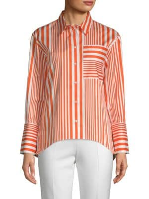 Ruveni Striped Stretch Cotton Button-Down Shirt
