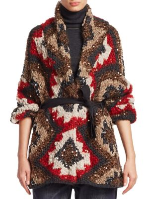 Sequin Marled-Knit Cashmere Cardigan