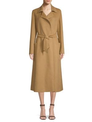 VIADANA NOTCHED-COLLAR BELTED MID-LENGTH WOOL COAT