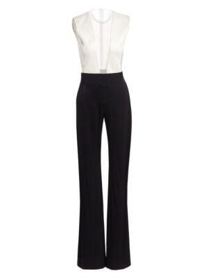 Plunging Sheer V-Neck Tuxedo Jumpsuit