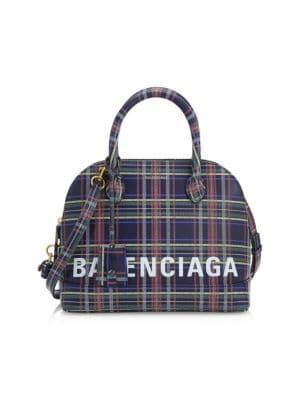 BALENCIAGA Ville Plaid Bowling Bag