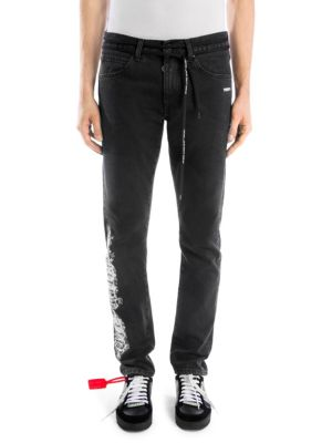 OFF-WHITE Gothic Slim Back Cotton Dark Jeans
