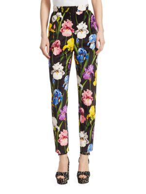 Velvet Floral Print Pants