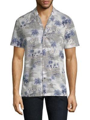 STRELLSON Palm Tree Print Button-Down Shirt