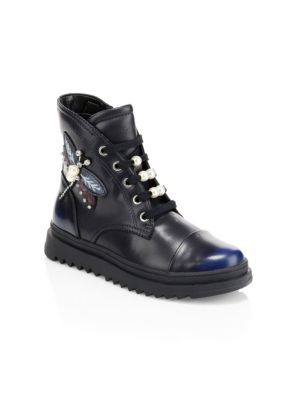 Kid's Gilly Embellished Moto Boots