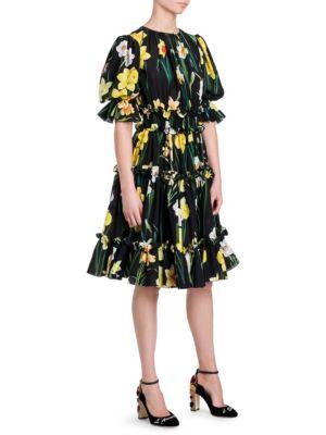 Daffodil Print Ruffled Dress