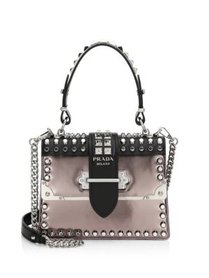 Studded Cahier Leather Top Handle Bag