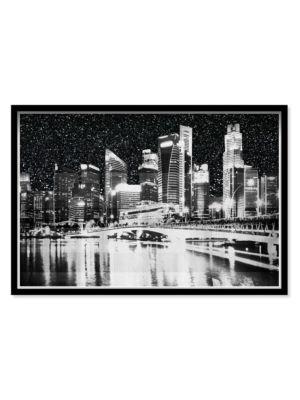 Glittering Sky City Light Framed Wall Art